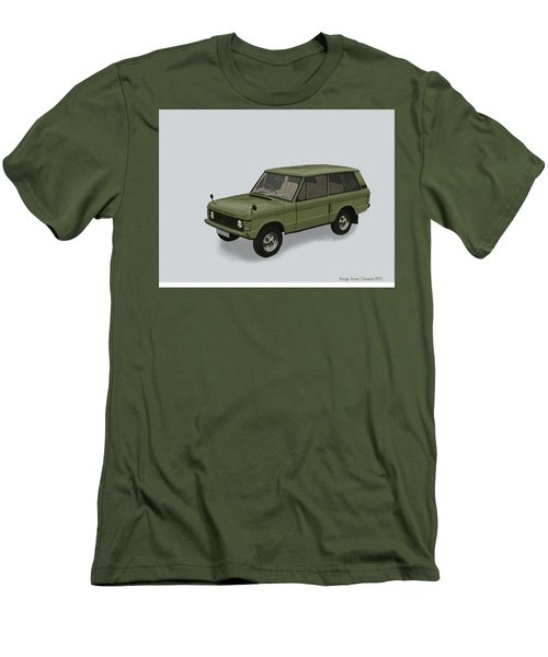 Men's T-Shirt (Slim Fit) featuring the mixed media Range Rover Classical 1970 by TortureLord Art