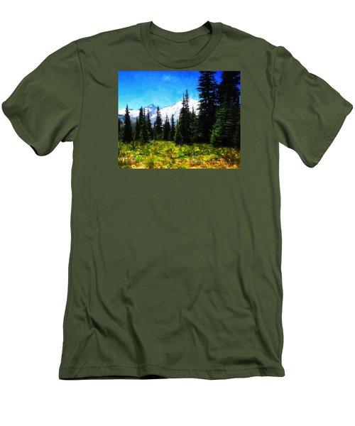 Ranier Mountain Meadow Men's T-Shirt (Slim Fit) by Timothy Bulone