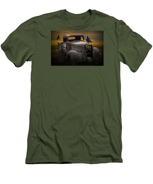 Raven Hood Ornament On Old Vintage Chevy Pickup Truck Men's T-Shirt (Athletic Fit)