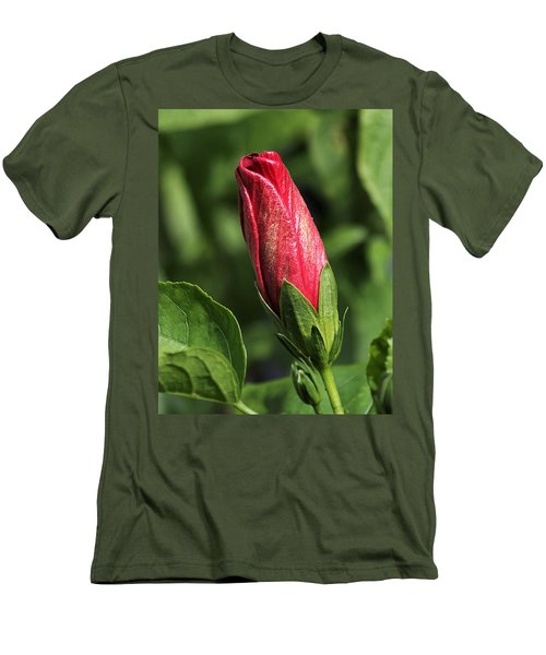 Men's T-Shirt (Athletic Fit) featuring the photograph Red And Gold Hibiscus Bud by Sheila Brown