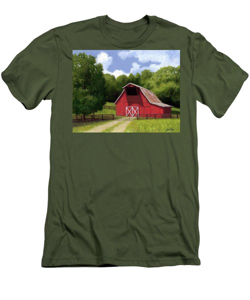 Men's T-Shirt (Slim Fit) featuring the painting Red Barn In Franklin Tn by Janet King