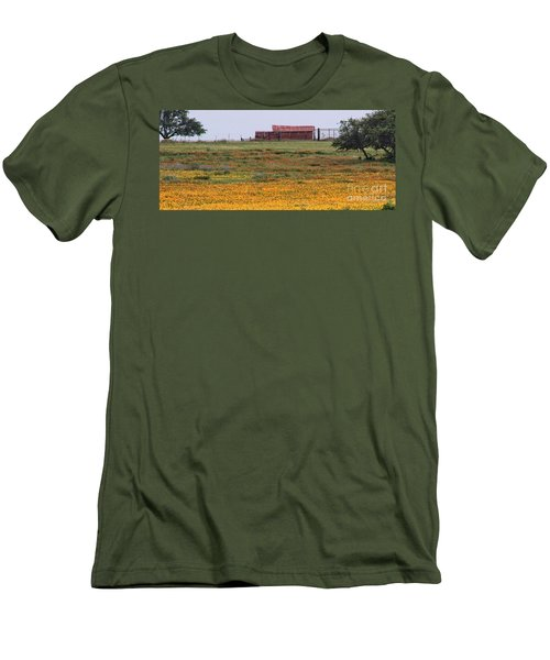 Red Barn In Wildflowers Men's T-Shirt (Slim Fit) by Toma Caul
