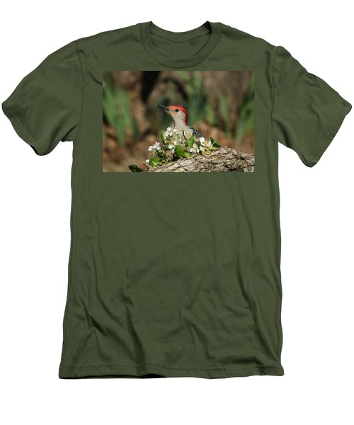 Red-bellied Woodpecker In Spring Men's T-Shirt (Slim Fit) by Sheila Brown