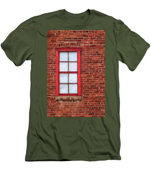 Red Brick And Window Men's T-Shirt (Slim Fit) by James Eddy
