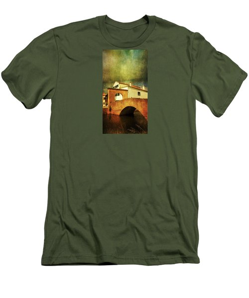 Men's T-Shirt (Slim Fit) featuring the photograph Red Bridge With Storm Cloud by Anne Kotan