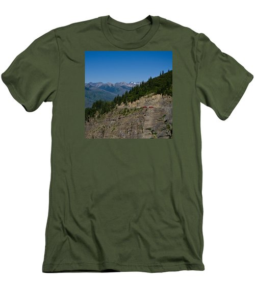 Red Buses, Glacier National Park Men's T-Shirt (Athletic Fit)