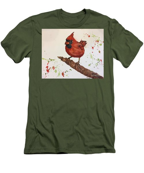 Red Cardinal Men's T-Shirt (Slim Fit) by Lucia Grilletto