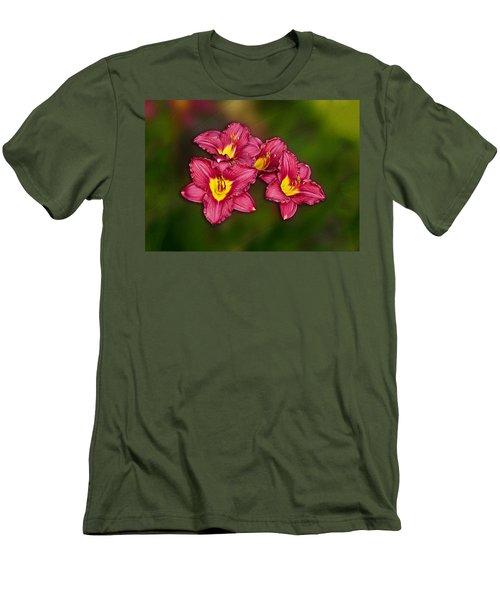 Men's T-Shirt (Slim Fit) featuring the photograph Red Columbine Hybrid by John Haldane