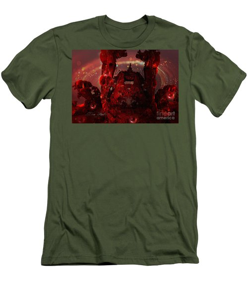 Red Creature Fractal Men's T-Shirt (Slim Fit) by Melissa Messick