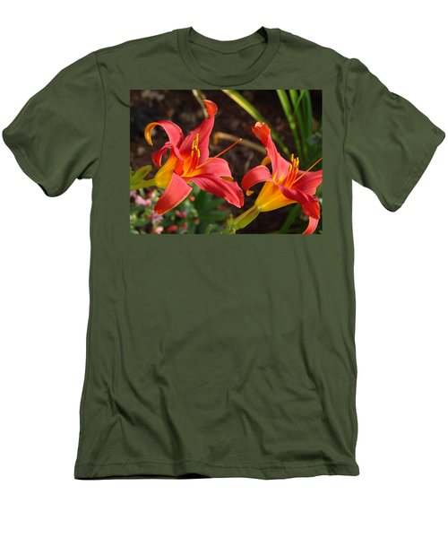 Red Daylilies Men's T-Shirt (Slim Fit) by Rebecca Overton
