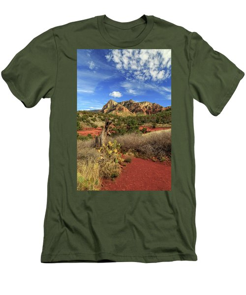 Red Dirt And Cactus In Sedona Men's T-Shirt (Slim Fit) by James Eddy
