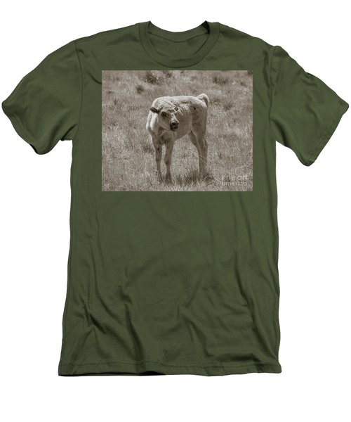 Men's T-Shirt (Slim Fit) featuring the photograph Red Dog Buffalo Calf by Rebecca Margraf