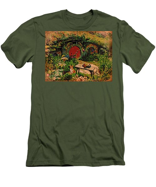 Men's T-Shirt (Slim Fit) featuring the digital art Red Door Hobbit House With Corgi by Kathy Kelly
