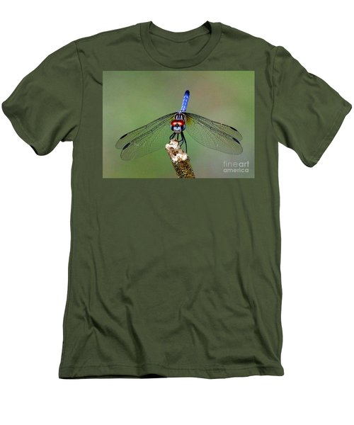 Men's T-Shirt (Slim Fit) featuring the photograph Red Eyed Dragonfly by Myrna Bradshaw
