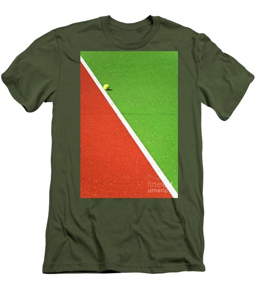 Red Green White Line And Tennis Ball Men's T-Shirt (Slim Fit) by Silvia Ganora
