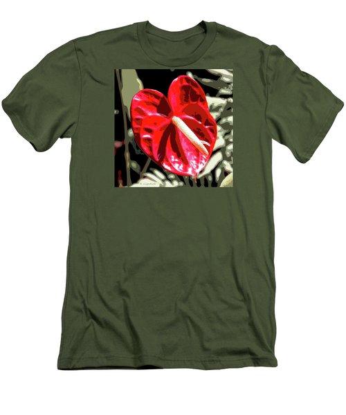 Red Heart Men's T-Shirt (Slim Fit) by Kerri Ligatich