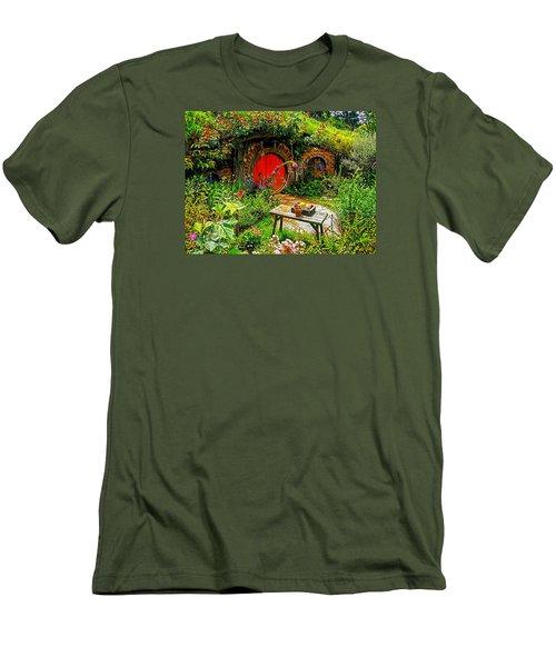 Red Hobbit Door Men's T-Shirt (Slim Fit) by Kathy Kelly
