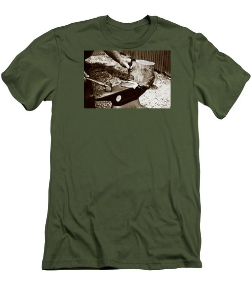 Men's T-Shirt (Slim Fit) featuring the photograph Red Hot Horseshoe On Anvil by Angela Rath
