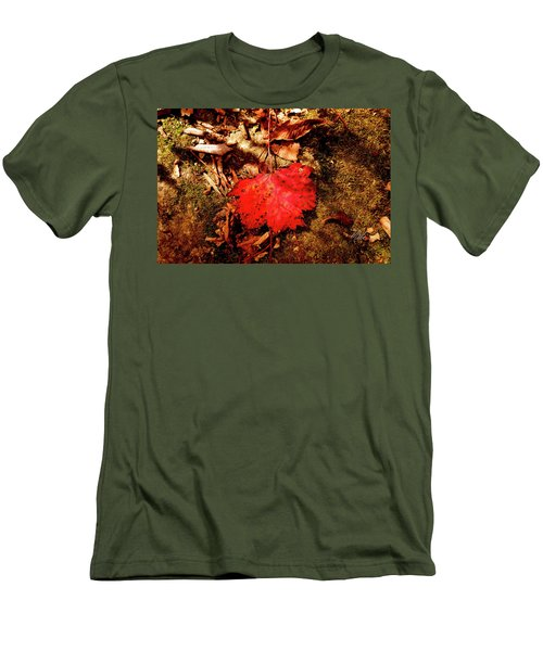 Red Leaf Men's T-Shirt (Slim Fit) by Meta Gatschenberger