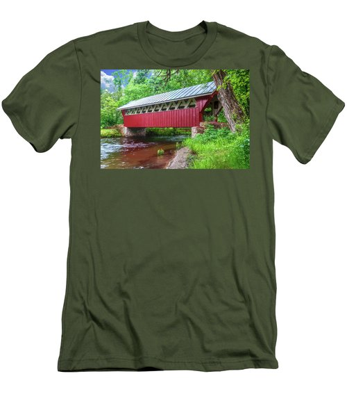 Red Mill Covered Bridge Men's T-Shirt (Slim Fit) by Trey Foerster