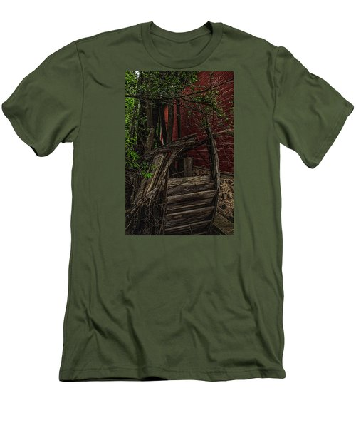 Men's T-Shirt (Slim Fit) featuring the photograph Red Mill Decayed Wheel by Trey Foerster