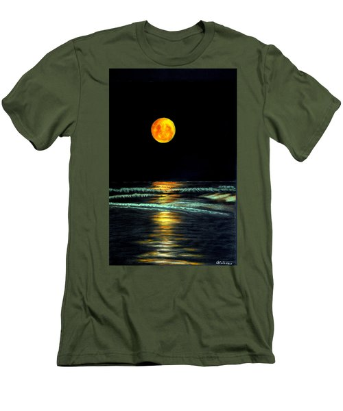 Red Moon Rising Men's T-Shirt (Slim Fit) by Antonia Citrino
