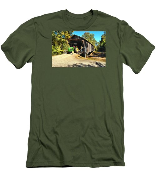 Red Oak Creek Covered Bridge And Tractor Men's T-Shirt (Slim Fit) by James Potts