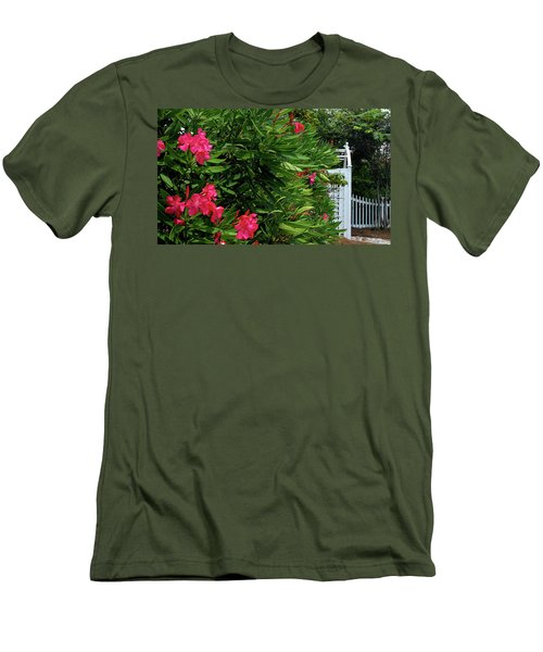 Men's T-Shirt (Slim Fit) featuring the photograph Red Oleander Arbor by Marie Hicks