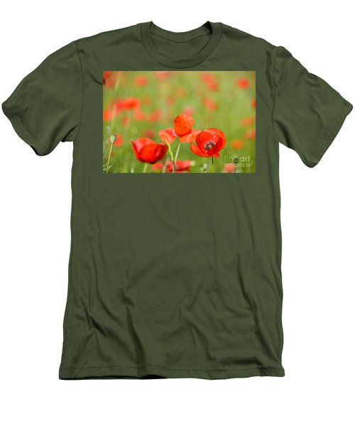 Red Poppy In A Field Of Poppies Men's T-Shirt (Slim Fit) by IPics Photography
