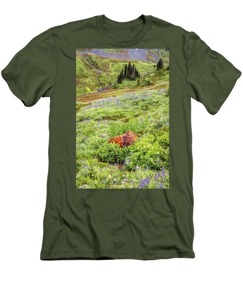Men's T-Shirt (Slim Fit) featuring the photograph Red Rock Of Rainier by Pierre Leclerc Photography