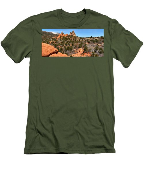 Men's T-Shirt (Slim Fit) featuring the photograph Red Rocks At High Point by Adam Jewell