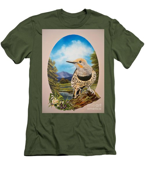 Men's T-Shirt (Slim Fit) featuring the painting Red Shafted Flicker by Sigrid Tune