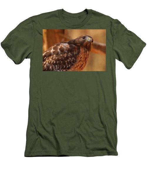 Red Shouldered Hawk 1  Men's T-Shirt (Slim Fit) by Chris Flees