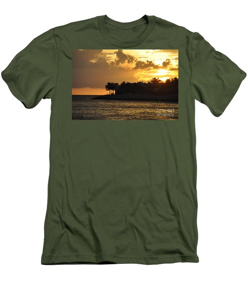 Men's T-Shirt (Slim Fit) featuring the photograph Red Sky At Night Over Sunset Key by John Black