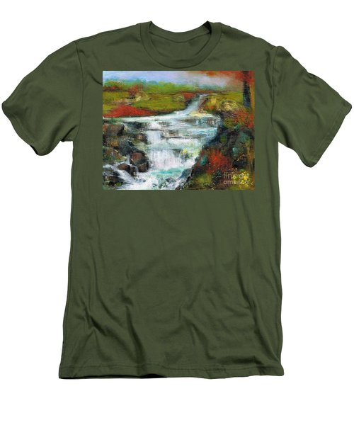 Yellow Fields With Red Sumac Men's T-Shirt (Slim Fit) by Frances Marino
