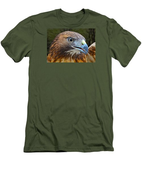 Red-tailed Hawk Portrait Men's T-Shirt (Slim Fit) by Sandi OReilly