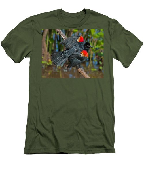 Red-winged Blackbird Men's T-Shirt (Slim Fit) by Suzanne Stout