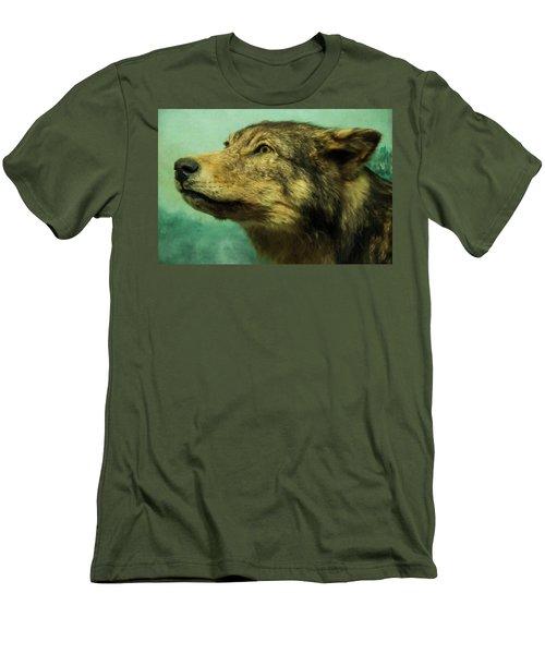 Men's T-Shirt (Slim Fit) featuring the digital art Red Wolf Digital Art by Chris Flees