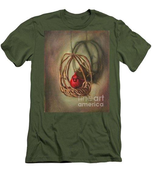 Men's T-Shirt (Slim Fit) featuring the painting Redbird by Randol Burns