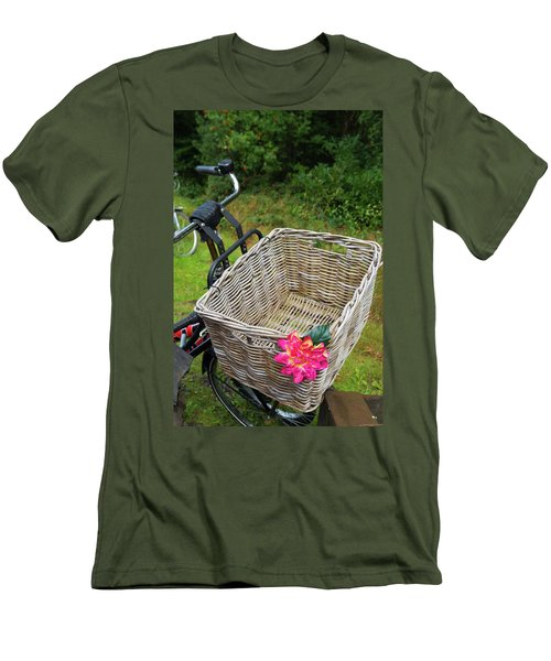 Men's T-Shirt (Slim Fit) featuring the photograph Reed Bicycle Basket by Hans Engbers