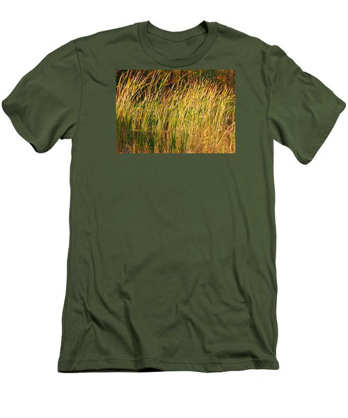 Men's T-Shirt (Slim Fit) featuring the photograph Reeds by Susan Crossman Buscho