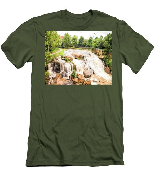 Men's T-Shirt (Athletic Fit) featuring the photograph Reedy River Falls Greenville Sc by Bellesouth Studio