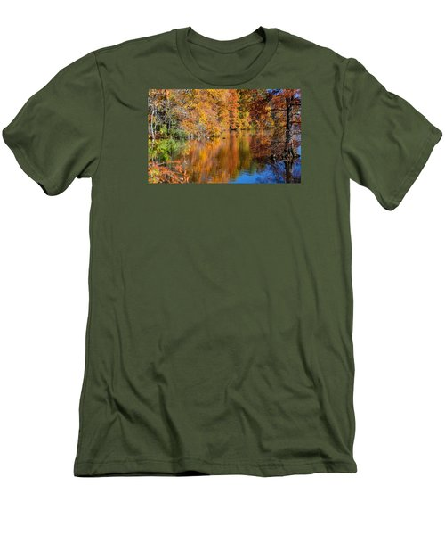 Reflected Fall Foliage Men's T-Shirt (Slim Fit) by Allan Levin