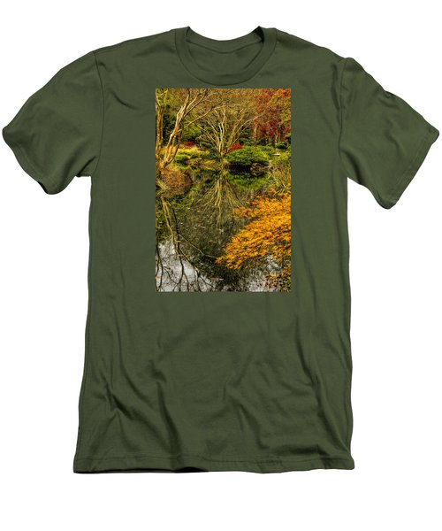 Men's T-Shirt (Slim Fit) featuring the photograph Reflections At Japanese Gardens by Barbara Bowen
