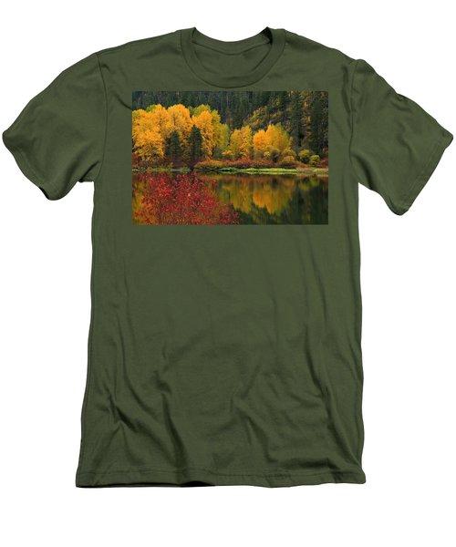 Reflections Of Fall Beauty Men's T-Shirt (Slim Fit) by Lynn Hopwood