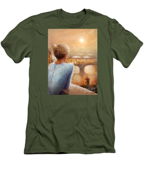 Men's T-Shirt (Slim Fit) featuring the painting Reflections Of Florence by Michael Rock