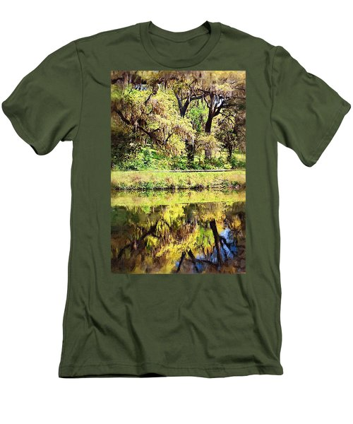 Men's T-Shirt (Slim Fit) featuring the photograph Reflective Live Oaks by Donna Bentley