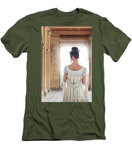 Regency Woman Under A Colonnade Men's T-Shirt (Slim Fit) by Lee Avison
