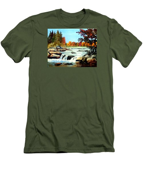 Men's T-Shirt (Slim Fit) featuring the painting Remembering The Little Broad River by Jim Phillips
