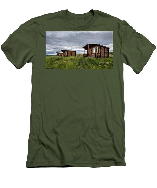 Men's T-Shirt (Athletic Fit) featuring the photograph Remote Cabins Myvatn Iceland by Edward Fielding
